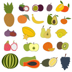 Fresh fruits set. Hand drawn fruits made in vector and color. Isolated. Tropical fruits and fresh healthy food.