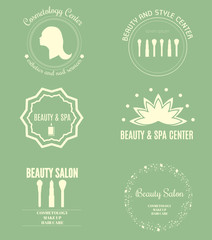 Set of modern beauty and spa logo templates. Labels and badges made in vector. Beauty salon, Cosmetology, Spa logotypes. Design elements, business signs, identity, labels, badges, objects, icons.