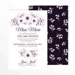 Wedding invitation with flowers anemone, branches and berries in vintage watercolor style. Vector illustration.