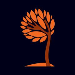 Artistic stylized natural design symbol, creative tree illustration