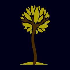 Artistic fantasy natural design symbol, creative tree illustration