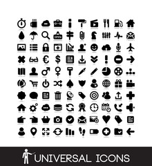 100 basic icons set - finance, business, office, social media icon