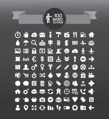 100 basic icons set - media, money, office, technology icon