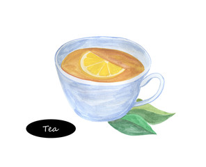 Watercolor cup of tea with mint and lemon isolated