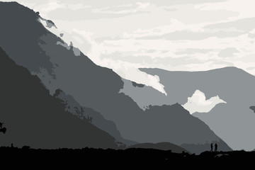 Silhouette in mountains