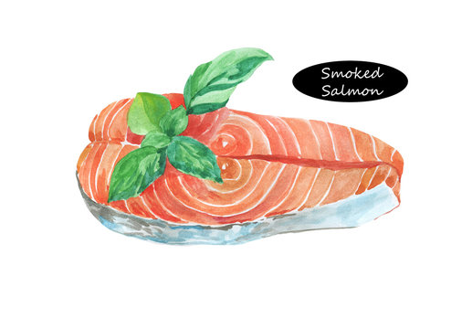 Watercolor smoked salmon with basil isolated on white