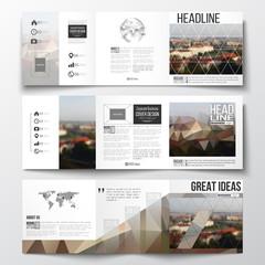 Set of tri-fold brochures, square design templates. Polygonal background, blurred image, urban landscape, Prague cityscape, modern stylish triangular vector texture.