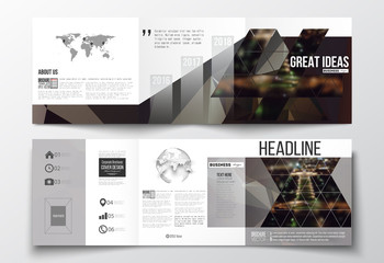 Set of tri-fold brochures, square design templates. Dark polygonal background, blurred image, night city landscape, Paris cityscape, modern triangular vector texture