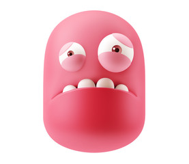 Sorry Emoticon Face. 3d Rendering.