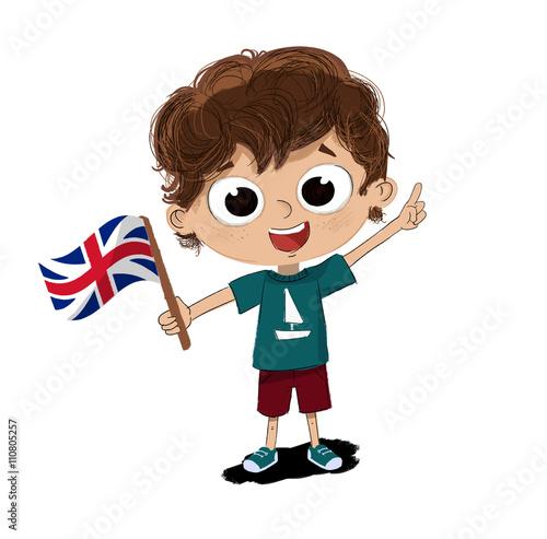 Dibujo de ni o con una bandera de inglaterra en la mano - Dibujo bandera inglesa ...