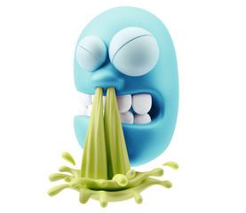 Blow Snot Emoji Cartoon.  3d Rendering.