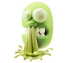 Mucus Blow Snot Emoticon Character Face Expression. 3d Rendering