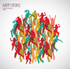 Group happy color dancing people.