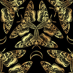 Butterfly Deaths head hawk moth seamless pattern