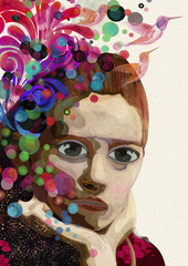 Abstract woman thinking and dreaming. Watercolor illustration.