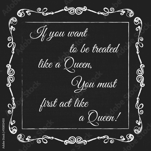 Vector Monogram Decorative Frame With Quote Queens Inspire Kings