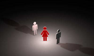 Love triangle (symbolic figures of people). 3D illustration rend