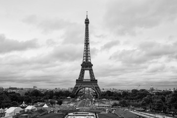 PARIS, FRANCE - SEPTEMBER 2013: Eiffel Tower view on September 13, 2013 in Paris. It is the most-visited paid monument in the world with annual 250M visitors.