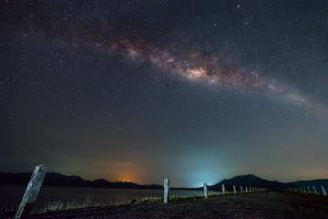 Milky way over the road