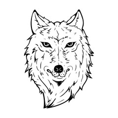 Wolf Head With Scary Face Using Line Art Style