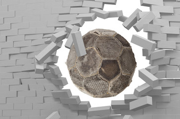Old soccer ball flying through damaged wall