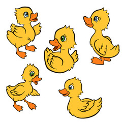 Cartoon birds for kids. Little cute ducklings play and smile. They are happy.