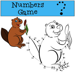 Numbers game with contour. Little cute beaver.