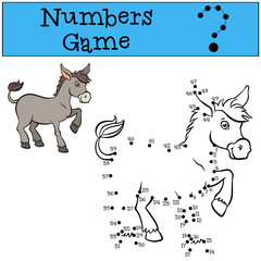 Numbers game. Little cute donkey.