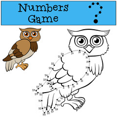Numbers game with contour. Cute wise owl.