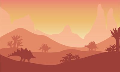 At sunset silhouette of stegosaurus