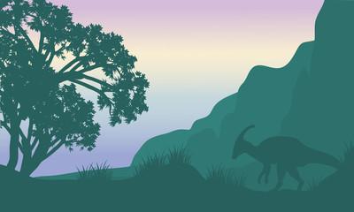 Landscape parasaurolophus in fields silhouette