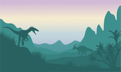 Silhouette of eoraptor and parasaurolophus