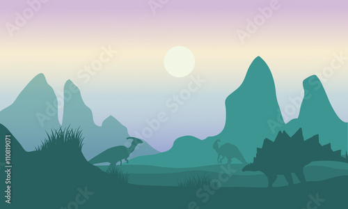 At morning silhouette of parasaurolophus and stegosaurus