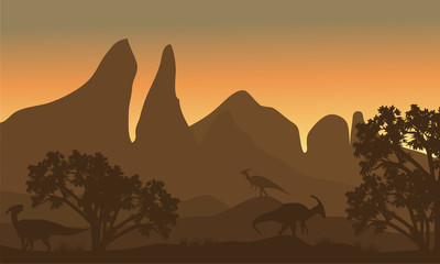 Silhouette of parasaurolophus in fields