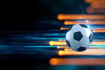 3d illustration of soccer ball in blue light streak background