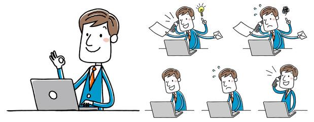 イラスト素材:ビジネスマン パソコン 操作 バリエーション