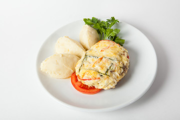Baked meat with cheese
