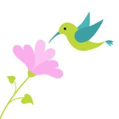 Flying colibri bird and heart flower. Cute cartoon character. Hummingbird. Isolated White background. Baby kids illustration collection. Love greeting card.  Flat design.