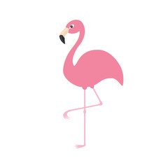 Pink flamingo on one leg. Exotic tropical bird. Zoo animal collection. Cute cartoon character. Decoration element. Flat design. White background. Isolated.