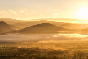 Sunrise golden light of dawn in fog