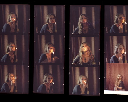 Contact sheet, the old color film positives in a transparent fil