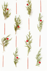 White background with green fir branches for decoration