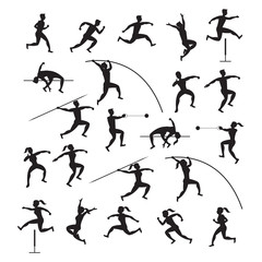 Sports Athletes, Track and Field, Silhouette Set, Athletic, Games, Action, Exercise