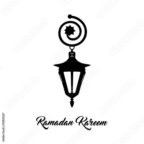 Ramadan Kareem Text Greeting Logo Eastern Forged Arabic Lamp On A White Background Hand Drawn