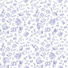 back to school doodles seamless vector background