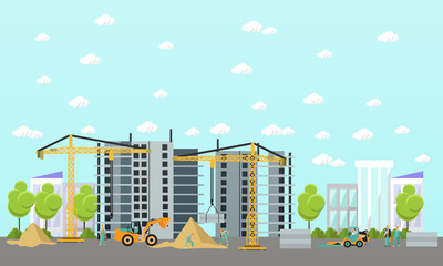 Construction site concept vector banner. Building, workers and machines, crane.