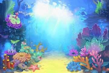Creative Illustration and Innovative Art: Mysterious and Peaceful Undersea World. Realistic Fantastic Cartoon Style Character, Story, Card Design