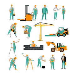 Vector set of construction workers isolated on white. People work. Icons in flat style