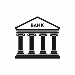 Bank building icon, simple style