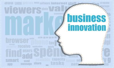 business innovation, vector head, profile icon, woman head silhouette, business man head. vector illustration